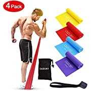 Oudort Resistance Elastic Bands Set, 4pack Exercise Bands Latex Free with Door Anchor for Upper and Lower Body and Core Exercise, Professional Elastic Bands for Physical Therapy,Lower Pilates,Home Workouts, Rehab and Stretching