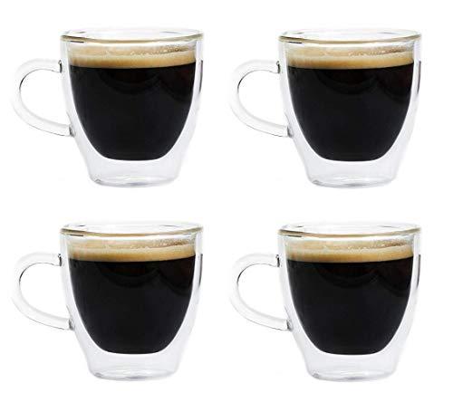 Maxxo Vasos de Doble Pared Ristretto 4x 80 ml Copas de Vidrio Térmico Resistente al Calor y Frío Tazas con Efecto Flotante para Té y Café