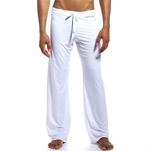 K-Men Men's Ice Silk Jersey Pajama Pants/Lounge Pants with Drawstring White L