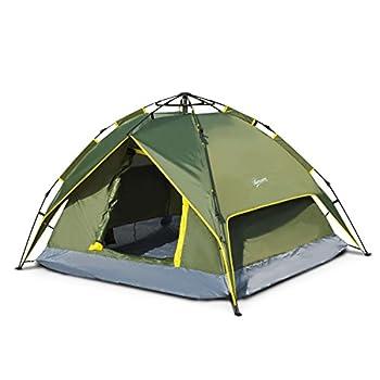 Outsunny Tente de Camping 2 Personnes Double Toit imperméable 2,3 x 2 x 1,35 m Vert Kaki Montage démontage Facile + Sac de Transport fourni