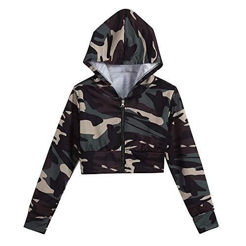 Hanyixue Hoodie met lange mouwen Tiener meisje trui Navel shirt Hoodie met camouflageprint Dames tops Crop top met rits Sweatshirts Shirt met lange mouwen Jas tienermeisje