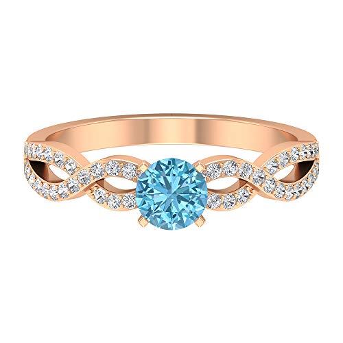 Rosec Jewels 14 quilates oro rosa redonda round-brilliant-shape H-I Blue Diamond Aquamarine