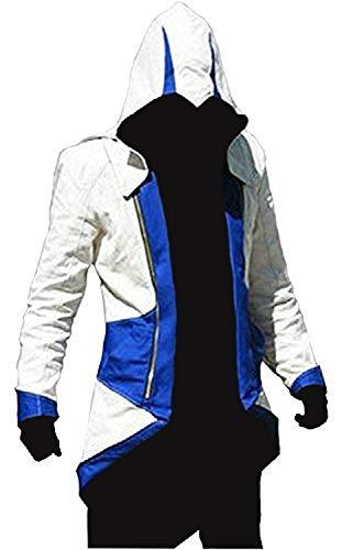 Herren AC 3 Kostüm Hoodie Connor Denim Jacke Mantel Gr. L, blau / weiß