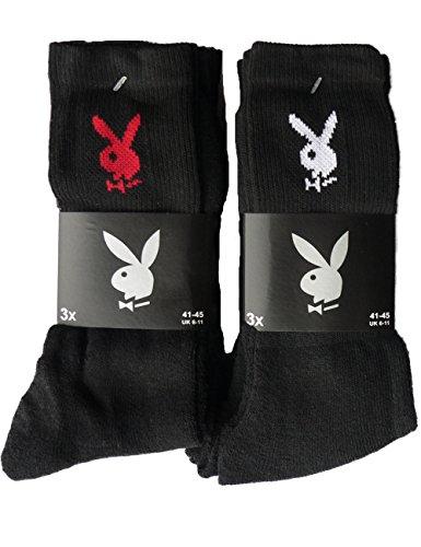 Playboy Herren Sportsocke mit Bunny 6 Paar Größe 41-45 Schwarz