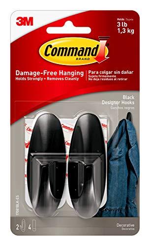 Command Medium Designer Hooks, Black, 2-Hooks, 4-Strips, Decorate Damage-Free
