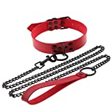 Punk Choker Necklace Women Boho Pu Leather Bandage Collar and Leash BDSM Sex Slave Collars Necklace Chain Sexy Clubwear Gothic