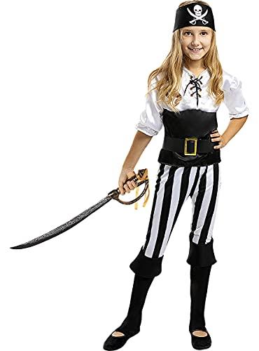 Funidelia | Déguisement Pirate à Rayures - Collection Blanc et Noir pour Fille Taille 10-12 Ans ▶ Corsair, Boucanier - Couleur: Multicolore, Accessoire pour déguisement