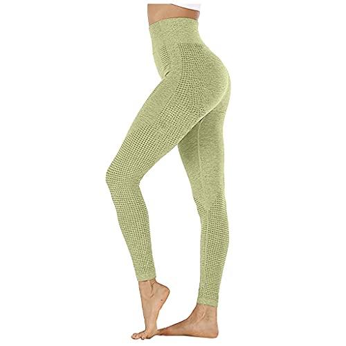 QTJY Pantalones de Yoga elásticos para Abdomen sin Costuras para Mujer, Mallas de Cintura Alta para Ejercicio físico para Correr AS