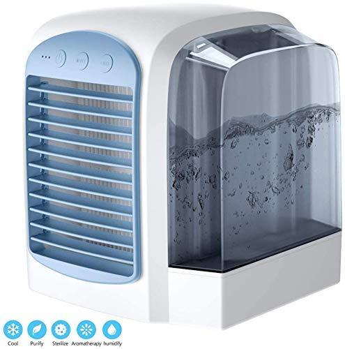 Air Cooler Conditioner USB Coolers met watertank Portable LED Tafelventilator 3 Fan Speed Ultra-Quiet Tafelventilator for Home Office, Blue 8bayfa (Color : Blue)