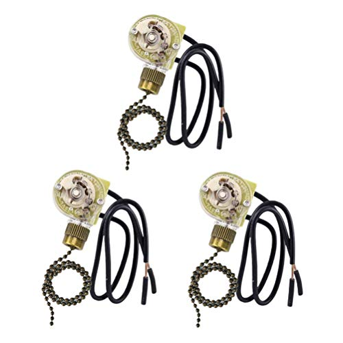 Zing Ear ZE-109 Replacement Ceiling Fan Light Switch, 3 Pack ON-Off Fan-Light Pull Chain Switch Compatible with Hunter Ceiling Fans Light, Lamps and Wall Lights (Bronze Pull Chain)