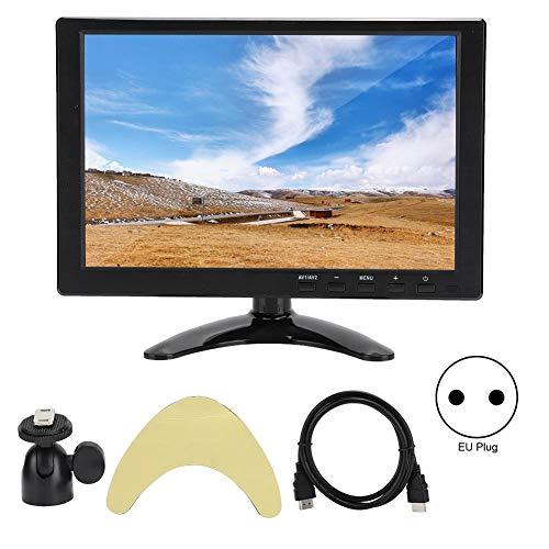 Monitor Universal de 10.1 Pulgadas, Monitor LCD HD 1280x800 16:10 Compatible con Entrada HDMI VGA AV (100-240 V)(EU Plug)
