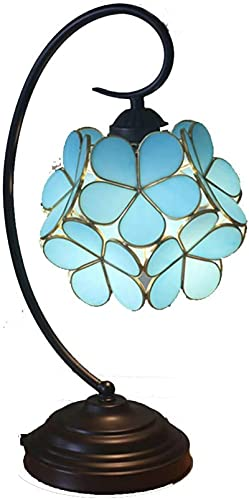 CXSMKP Lámpara de Mesa Estilo Tiffany de Cerezo, vidriera, lámparas de Mesa para Sala de Estar, Dormitorio, decoración de Luces con Pantalla Floral de aleación