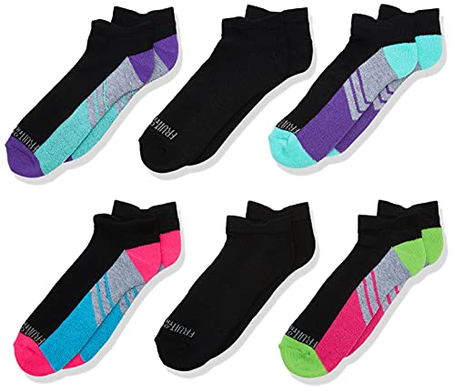 Fruit of the Loom Girl's Little Cushioned Low Cut Socks with Arch Support-6 Pair Pack, Black Assorted, Shoe Size: 10.5-4