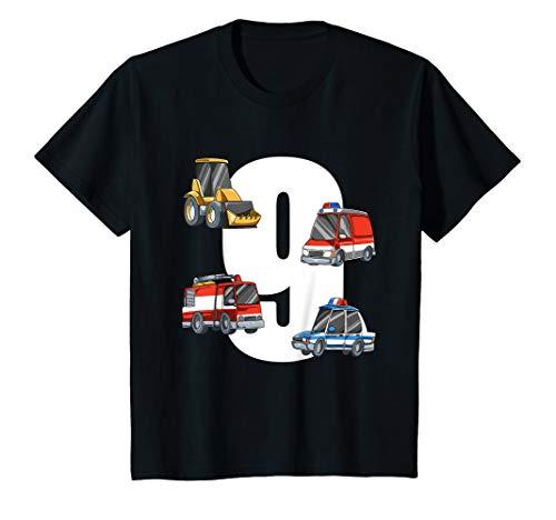 Kinder Rettungswagen und Bagger - 9 Jahre Kindergeburtstag T-Shirt