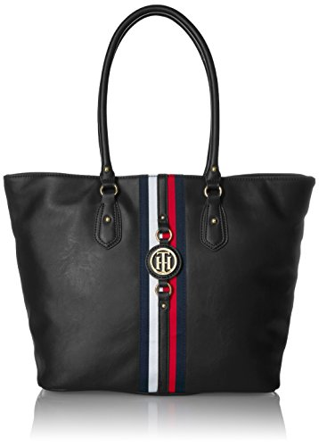 Tommy Hilfiger Travel Tote Bag for Women Jaden, Black Polyvinyl Chloride