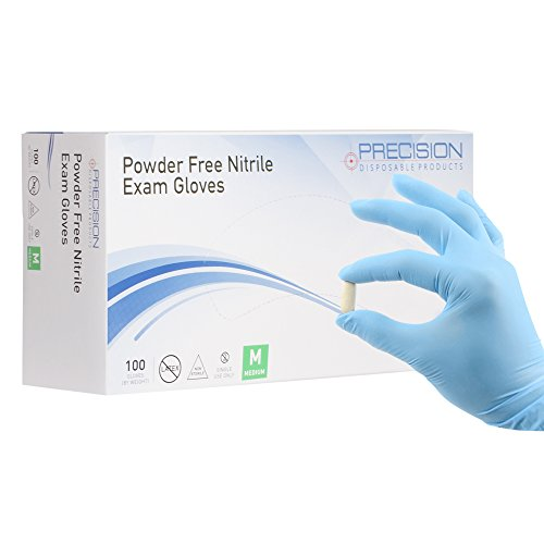 Nitrile Exam Gloves by Precision Disposables | Blue Medium 4 mil Thickness, Powder Free, Non Latex, Fingertip Textured, Medical Grade, Food Safe Examination Gloves (Pack of 100)