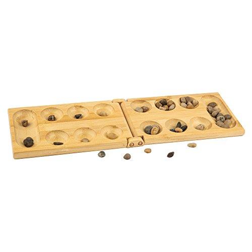 pandoo Bambus Mancala - Strategie-Brettspiel – Steinchenspiel, Kalaha, Bohnenspiel, Edelsteinspiel, Muschelspiel, Hus,Bao - Super auch als Geschenk geeignet