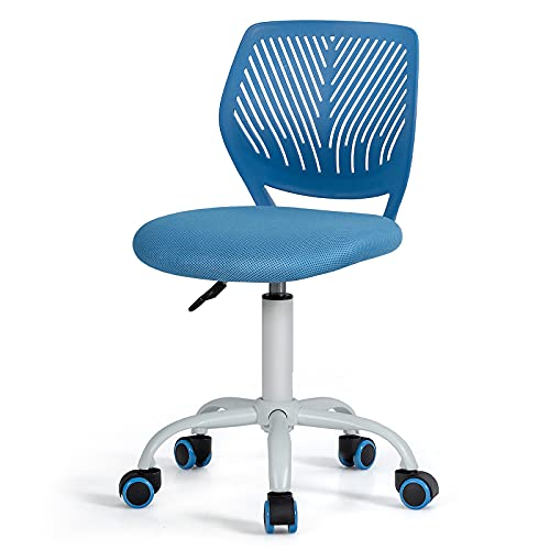 GYMAX Kids Desk Chair, Height Adjustable Study Chairs with PU Casters, Teens Swivel Computer Seat for School Home Office Load Capacity 120kg (Blue)