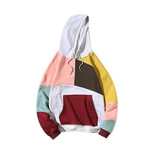 KUKICAT Herren Sweatershirt Groß Großer, Herren Persönlichkeit Mode Stitched Kragen Hoodie, Bedrucktes Sweatshirt