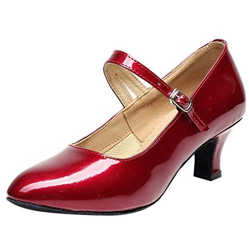Mujer Zapatos de Fiesta de Baile de Salón Brillantes Mocasines Tacón Cómodo y Antideslizante Casuales Zapatos de Baile de Tango Rumba de Interior Cerrados Fannyfuny