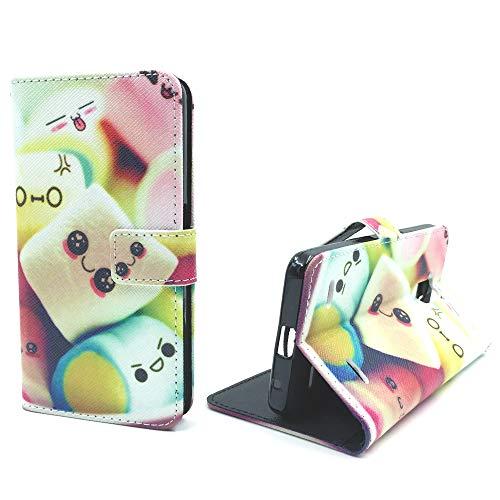 König Design Handyhülle Kompatibel mit ZTE Blade V7 Lite Handytasche Schutzhülle Tasche Flip Hülle mit Kreditkartenfächern - Marshmallows