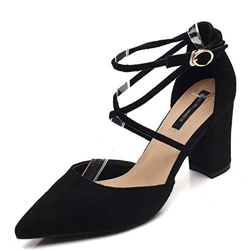 Boenxuan Baotou bajo-Top de los Zapatos de tacón Alto de Las Mujeres  en Bruto con la Moda de Primavera Nueva explosión Hueca Negro 34