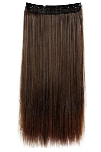 PRETTYSHOP Clip In Extensions Haarverlängerung Haarteil Glatt 60cm braun mix #4T30 C59