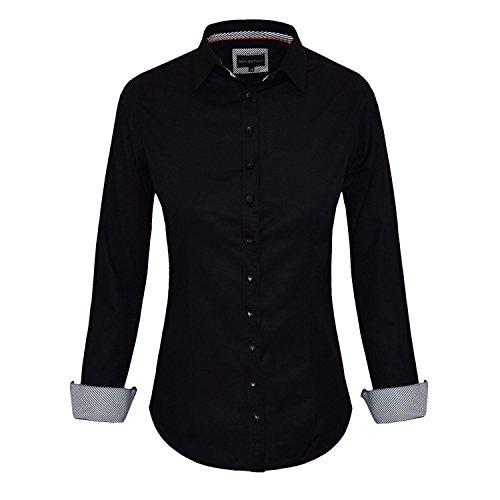 HEVENTON Bluse Damen Langarm in Schwarz Hemdbluse - Größe 34 bis 50 - elegant und hochwertig Farbe Schwarz, Größe 44
