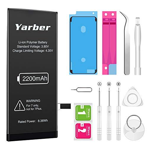 Akku für iphone 7 2200mAh, Yarber hohe Kapazität mit 12% mehr Polymer-Lithium-Batterie, mit Werkzeugset und Reparaturset, 2 Jahr Kundendienst