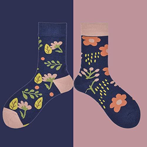 ROUNDER 5 Paar Baumwolle Männer und Frauen Strümpfe falsche Version Cartoon Muster Kleintier Blumensocken Persönlichkeit Trendige Socken-Blumenrosa blau