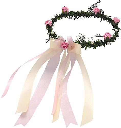 ZauberDeko Haarschmuck Rosa Creme Kopfschmuck Hochzeit Haarkranz Blumenkind Kommunion
