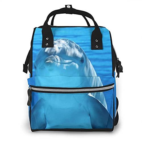 Dolphin con una sonrisa bolsa de pañales multifunción para el cuidado del bebé mochila de viaje abierta impermeable para organización