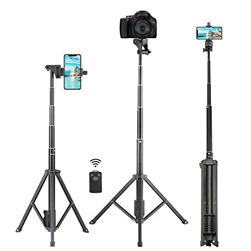 Selfie Stick Tripod, Eocean 54 Inch Extendable Selfie Stick with Phone Tripod Stand and Wireless Remote, Compatible with iPhone 12 11 Pro Max X 8 7 6 Android, Perfect for Live Stream Vlog, Lightweight