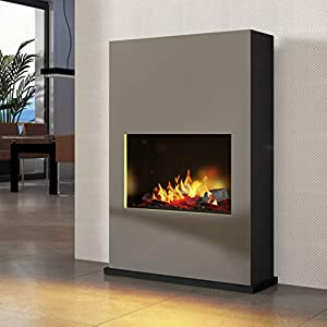 bergamo Torretta Opti-Myst – Chimenea eléctrica de aluminio gris – Montaje en pared o de pie con calefacción – con…