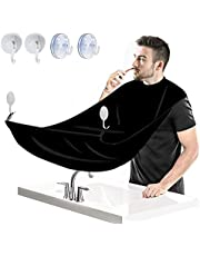 Beard Bib Apron Kit for Men Trimming and Shaving, Adjustable Neck Straps Hair Clippings Catcher, Waterproof Non-Stick Grooming Cape Apron with 4 Suction Cups, black