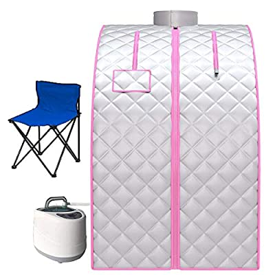 Portable Steam Sauna, 2L Personal Home Spa with Remote Control, Steam Pot and Folding Chair for Weight Loss Detox Reduce Stress Fatigue