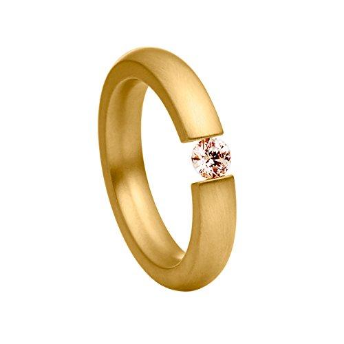 Heideman Ring Damen Spannring schmal aus Edelstahl Gold farbend matt Damenring für Frauen mit Swarovski Stein Zirkonia braun im Brillant Schliff 4mm