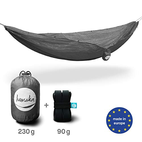 hamaka Bündel coal: Ultraleicht-Hängematte aus Ripstop-Fallschirmseide + Aufhängesystem. Gesamt nur 320 g! Mattenfläche: 285 × 150 cm