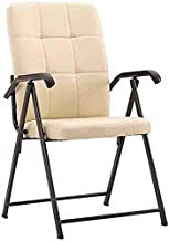 Folding Chair Portable Sturdy Steel Faux Leather Computer Chair Household Office Conference Training Chairs (Color : Off-White)