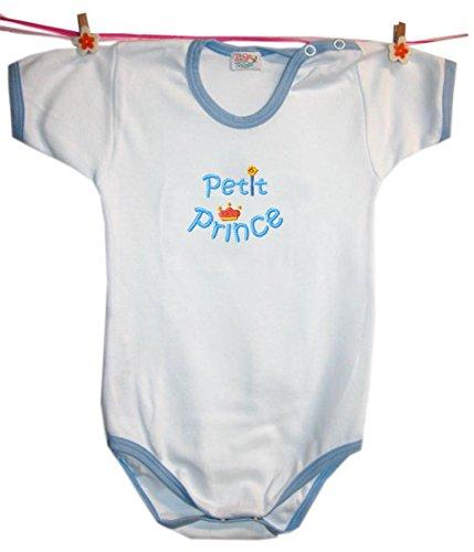 Zigozago - Body Bèbè à Manches Courtes pour bébé avec Broderie Petit Prince Taille: 9 Mois - Couleur: Bleu - 100% Coton