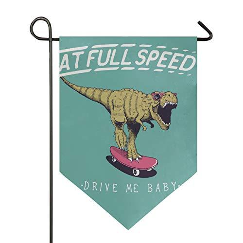 SENNSEE Hausflagge Rollschuhe Dinosaurier Lustige Gartenflagge 30,5 x 45,7 cm doppelseitig dekorative Hofflagge für Zuhause Dekoration im Freien, Polyester, Multi, 28x40