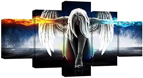 FBYSH 5 Gemälde Auf Leinwand Angel Beauty Movie Game Charaktere Wohnzimmer Schlafzimmer Poster Dekoration Modern Fünf Teile Leinwandbilder Familie Leinwandmalerei Drucken Foto Lein 200*100cm Rahmenlos