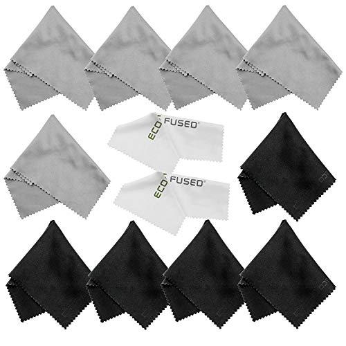 Eco-Fused Mikrofasertücher - 12er Pack - Zum Reinigen von Brillen, Sonnenbrillen, Kameraobjektiven, iPad, Tablets, Handys, iPhone, Android-Telefonen, Laptops, LCD-Bildschirmen und anderen empfindlichen Oberflächen