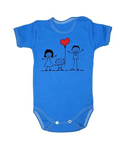 Couleur Mode Dessin Famille Amour Unisexe bodies à manches courtes 100% coton Petit bébé – 24 mois – 0016 bleu tiny baby, 52 cm