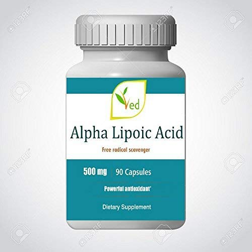 Ved Alpha Lipoic Acid | Non-GMO, Gluten Free | Helps Maintain Blood Sugar Level | 500mg, 90 Capsules