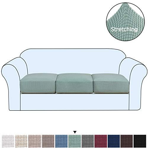 H.VERSAILTEX Funda de cojín de Alta Elasticidad para sofá de 1/2/3 plazas, Funda de cojín de sofá y Asiento, Suave flexibilidad con Parte Inferior elástica, Lavable a máquina, Salvia, Sofa Cushion