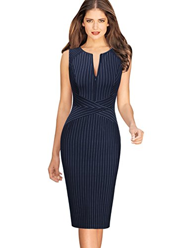 VFSHOW Womens Elegant Navy Blue and White Striped Cocktail Party Slim Zipper up Work Business Office Sheath Dress 2619 BLU L