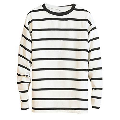 Luckycat heren sport fitness training crewneck dagelijks modern sweatshirt lange mouwen pullover warm basic heren shirt lange mouwen T-shirt ronde hals strepen top