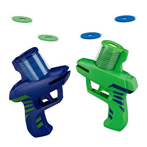 Relaxdays Pistola Lanza Discos, Pack de 2, Juguete Volador, Juego Infantil para Exterior, PP-Gomaespuma, Verde-Azul, Color (10027780)