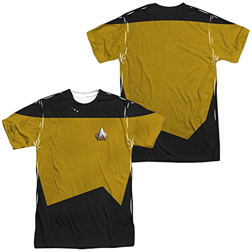 STAR TREK TNG Engineering Costume (Front/Back Print) Adult T-Shirt White LG